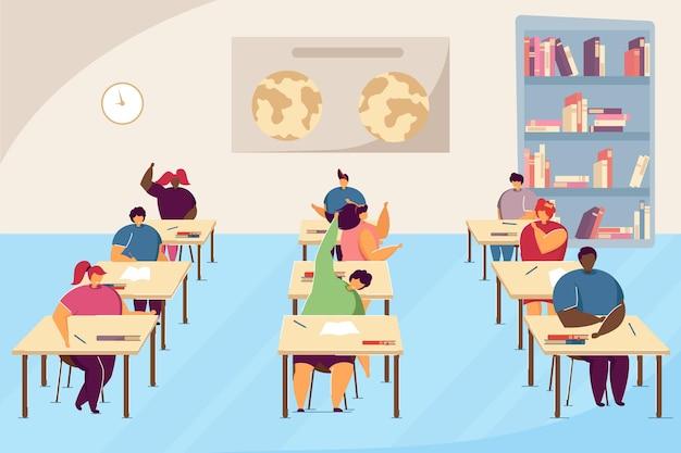 Clipart von schülern im erdkundeunterricht. karikaturjungen und -mädchen, die für prüfung studieren, flache vektorillustration des klassenzimmerinnenraums. schule, bildungskonzept für banner, website-design oder landing-webseite