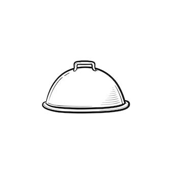 Cloche mit platte für handgezeichnetes umriss-doodle-symbol. abgedeckte tellervektorskizzenillustration für druck, netz, handy und infografiken lokalisiert auf weißem hintergrund.