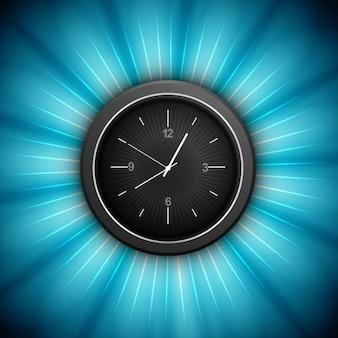 Clock auf glänzendem hintergrund