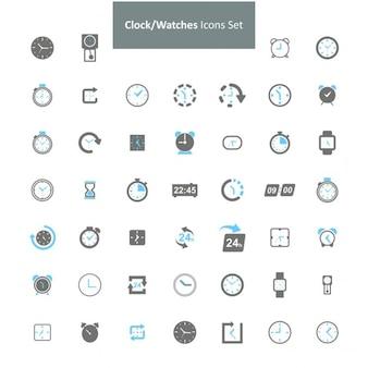 Clock uhren-icon-set Kostenlosen Vektoren