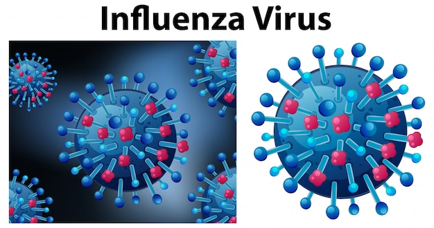 Close up isoliertes objekt des virus namens influenza-virus
