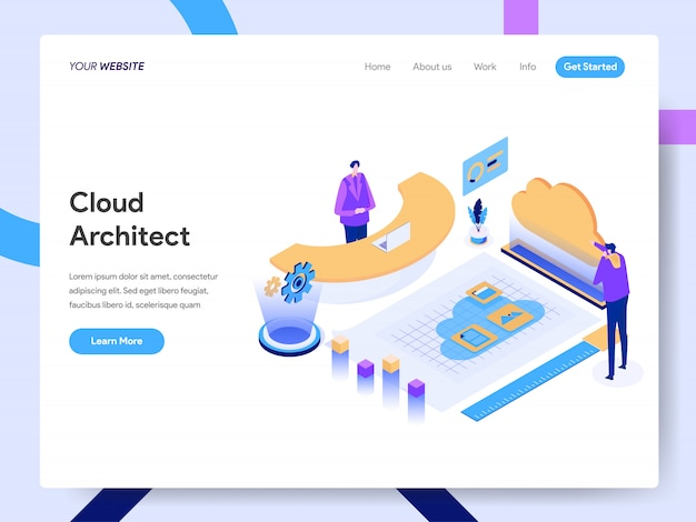 Cloud architect isometric illustration für website-seite