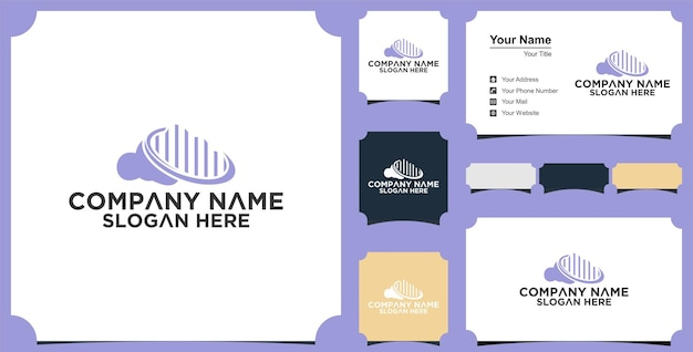 Cloud building logo-designs und premium-visitenkarten