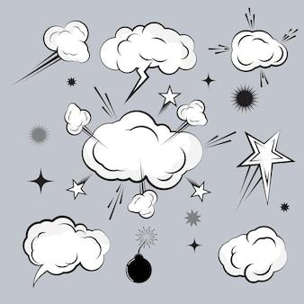 Cloud-comic-buch-design-element-vektor-illustration