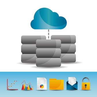 Cloud-computing-daten-server-basis-technologie-icons