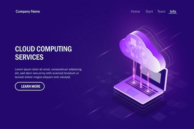 Cloud computing-dienste. synchronisation zwischen laptop und cloud-speicher