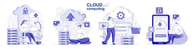 Cloud computing isoliertes set in flachem design leute laden dateien zur speicherung und verarbeitung von daten hoch