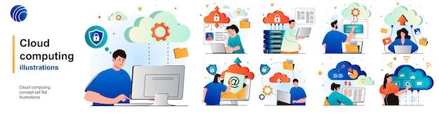Cloud-computing-isoliertes set sicherer verbindungsspeicher und cloud-technologie von szenen in der wohnung