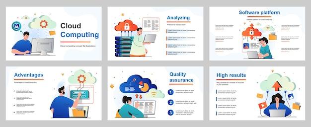Cloud-computing-konzept für präsentationsfolienvorlage leute, die dateispeicherdaten hochladen