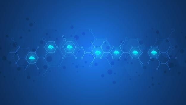 Cloud-computing-konzept mit flachen symbolen und symbolen