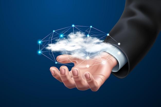 Cloud-computing-konzept mit geschäftsmannhand mit realistischer wolke