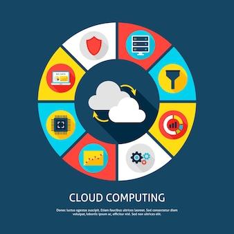 Cloud-computing-konzept. vektor-illustration von big data infografiken kreis mit digitalen icons.