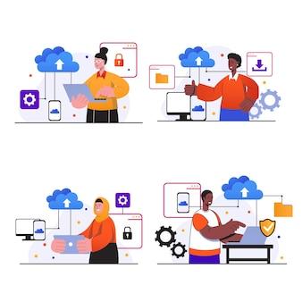 Cloud-computing-konzeptszenen stellen menschen mit laptops oder smartphones ein, die cloud-speicher verwenden