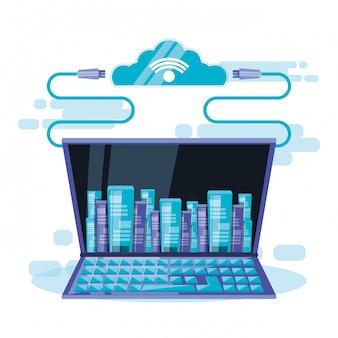 Cloud-computing mit dem laptop