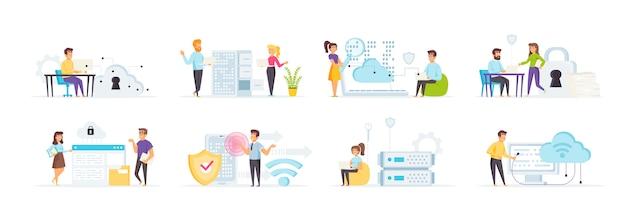 Cloud computing mit personencharakteren in verschiedenen szenen und situationen.
