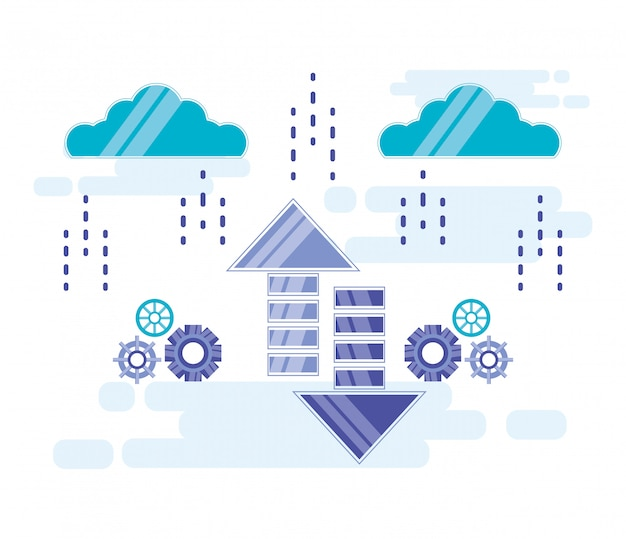 Cloud computing mit pfeilen auf und ab