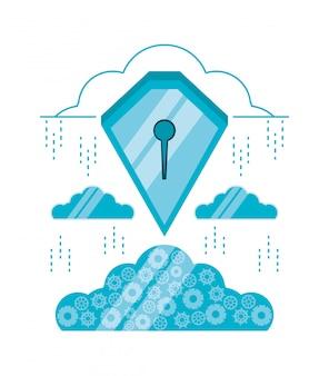 Cloud computing mit schild