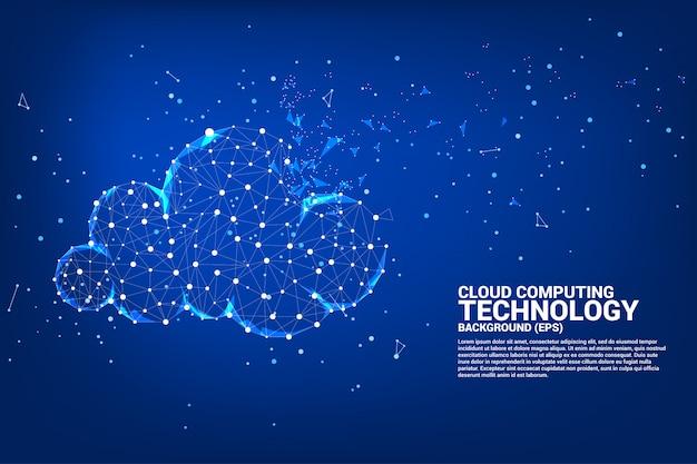 Cloud-computing-netztechnologie-polygonpunkt verbundene linie mit ikone