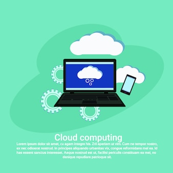 Cloud computing services datenspeicherung web template banner mit textfreiraum