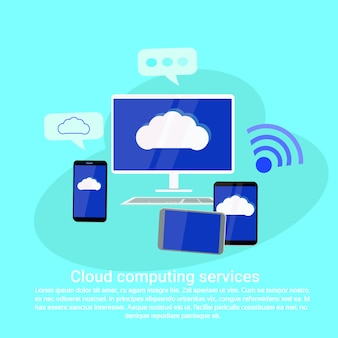 Cloud computing services web template banner mit textfreiraum