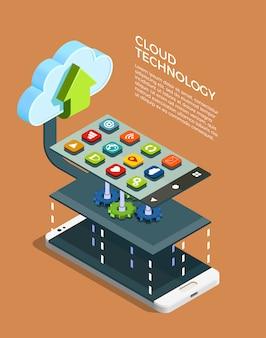 Cloud-computing-technologie isometrisch