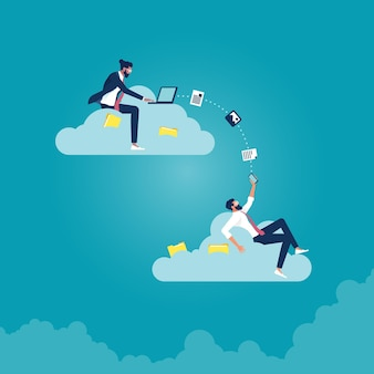 Cloud-computing-technologie-netzwerk, arbeiten von überall