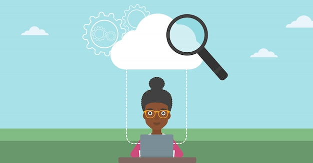 Cloud computing-technologie-vektor-illustration.
