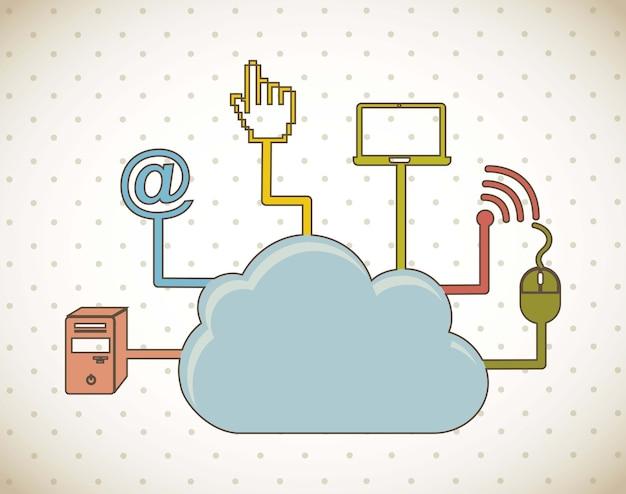 Cloud computing über vintage hintergrund vektor-illustration