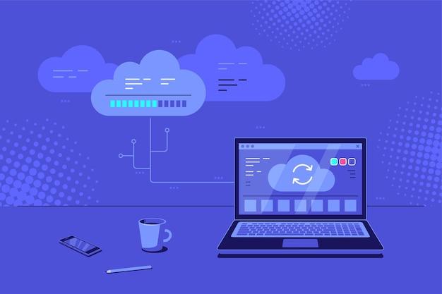 Cloud computing . übertragung und speicherung von cloud-server-daten. laptop mit cloud-upload-symbol auf dem bildschirm. .