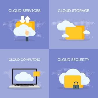 Cloud-coputing-speicherdienst und sicherheits-composic-set