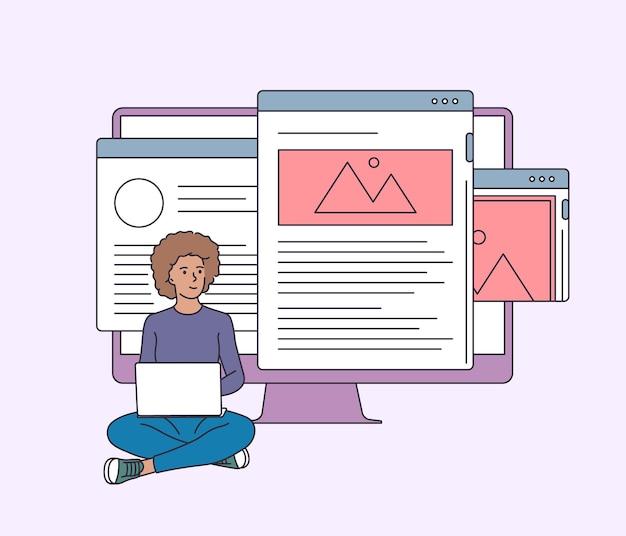 Cloud-dienst, bearbeitbares online-dokument. junge glückliche frau, die dienste nutzt, um dokumente zu teilen
