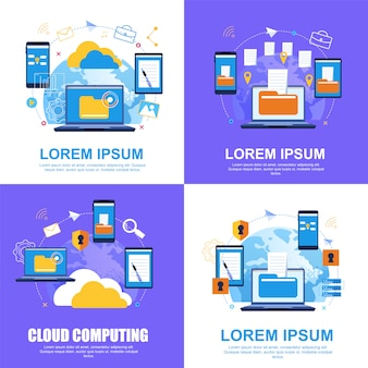 Cloud-dienst. dateiübertragung.cloud computing.