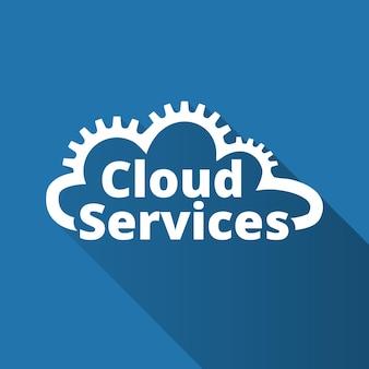 Cloud-dienste-logo, symbol. saas, paas, iaas. technologie, softwarepakete, dezentrale anwendung, cloud-computing. zahnräder in der wolkenlinie. vektor-illustration.