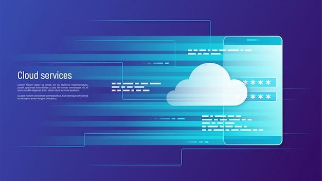 Cloud-dienste, remote-datenspeicherkonzept.