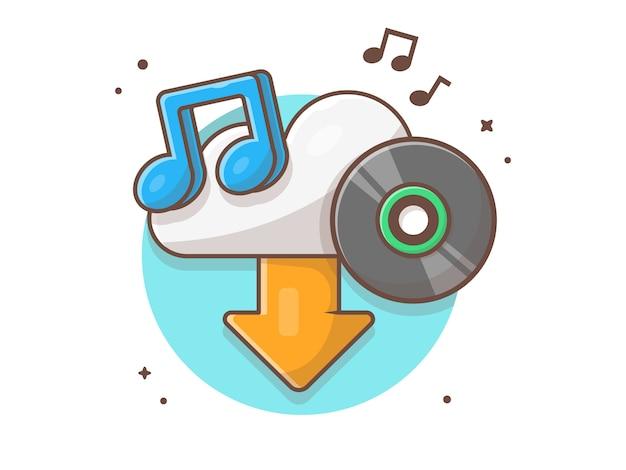 Cloud-download-musik mit vinyl, tune und note of music. sound cloud icon weiß isoliert