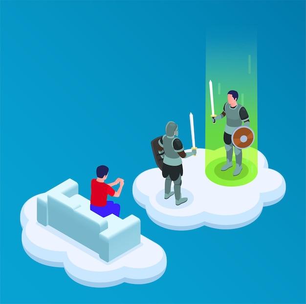 Cloud-gaming-isometrische illustration mit abenteuer- und kampfspiel
