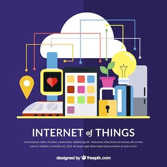 Cloud-hintergrund und internet der dinge