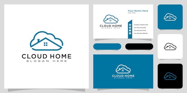 Cloud-home-logo-vektor-linienstil und visitenkarte