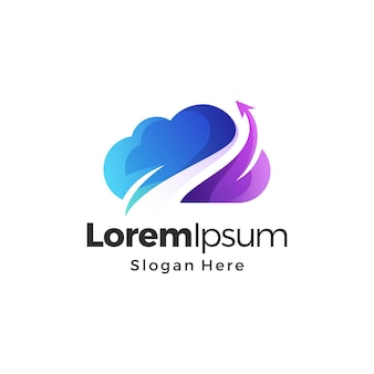Cloud-logo-design-gradienten-premium-vektor