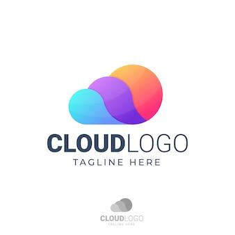 Cloud-logo mit drei farbschema