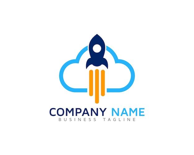 Cloud-logo mit rakete