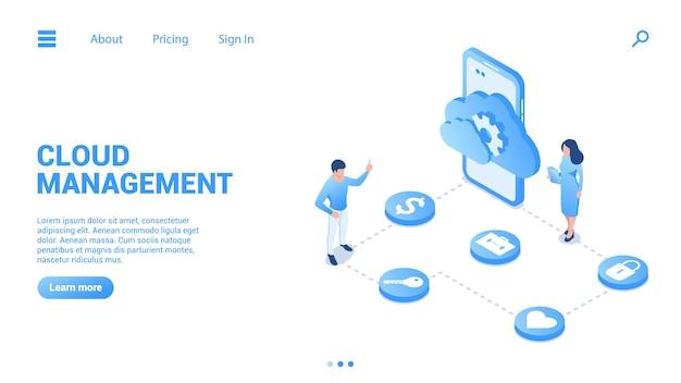 Cloud-management-konzept digitale datenspeicherung und deren konfiguration Premium Vektoren