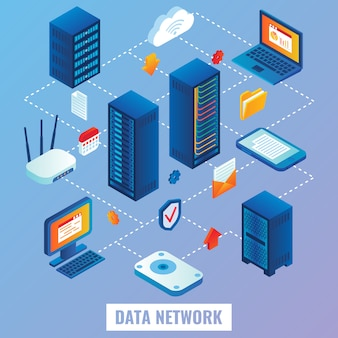 Cloud-netzwerk flach isometrisch
