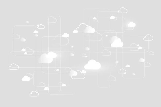 Cloud-netzwerksystemhintergrund für social-media-banner