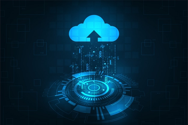 Cloud-oberfläche, die das hochladen von daten ins internet anzeigt.