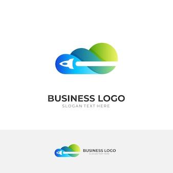 Cloud-reiselogo, wolke und rakete, kombinationslogo mit blauem und grünem 3d-farbstil