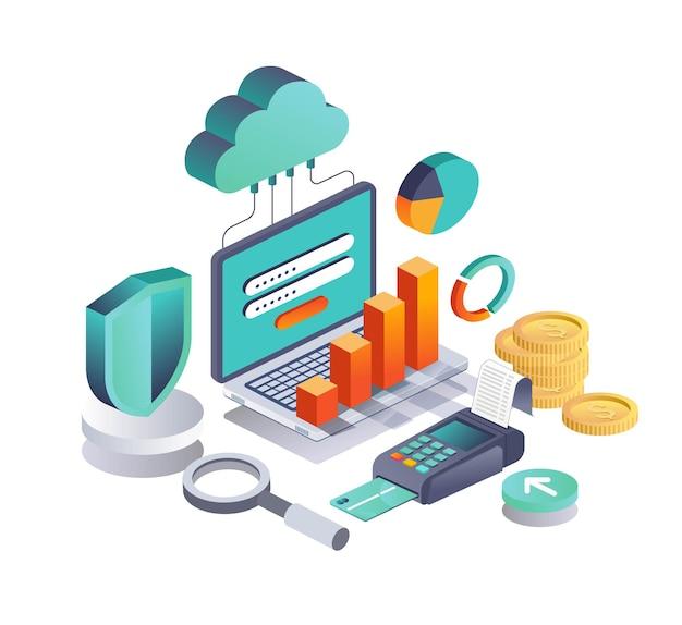 Cloud-server-datenanalyse und online-zahlungssicherheit