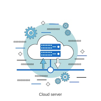 Cloud-server flache design-stil-vektor-konzept-illustration