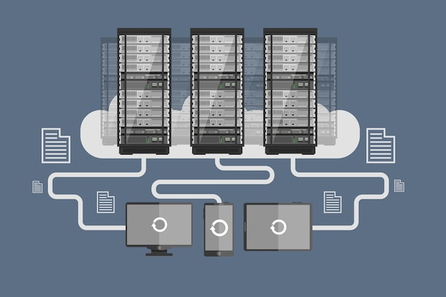 Cloud-server, herunterladen von mobilen geräten, datenaustausch, cloud-speicher