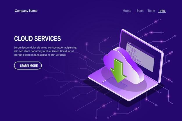 Cloud-service-konzept. synchronisationsprozess zwischen dem cloud-speicher und einem laptop